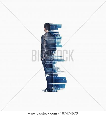 Multi exposure of young business man looking at the city. Vertical