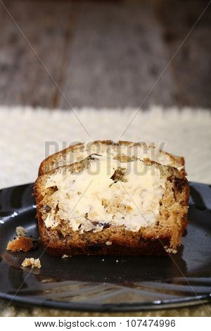 Buttered slices of banana bread