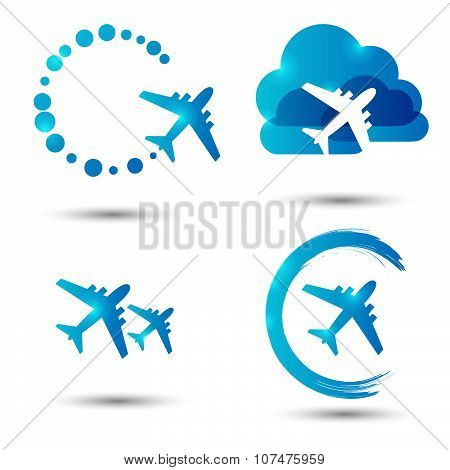 Set of vector avia icons