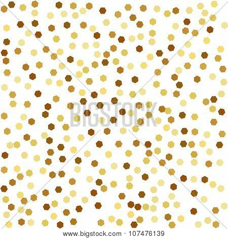 Golden hexagonal background. Seamless pattern.