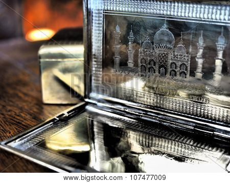 Antique Brass Cigarette case with Taj Mahal Engraved