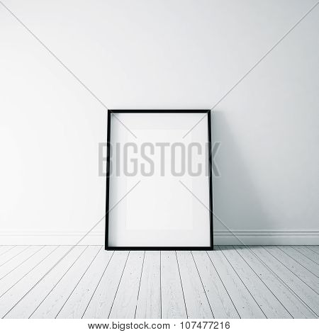 Photo of empty frame on the white floor. Vertical. 3d render