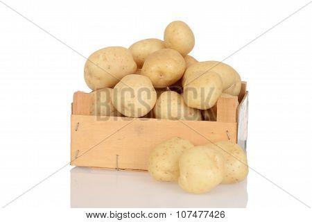 potatoes in wood box