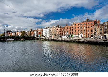 Grattan Bridge is a road bridge over the river Liffey in Dublin City Centre