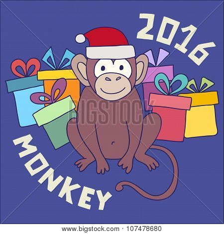 Vector funny monkey, illustration happy monkey for children. Postcard Happy New Year 2016.