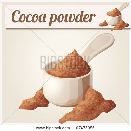 Cocoa powder. Detailed Vector Icon. Series of food and drink and ingredients for cooking.