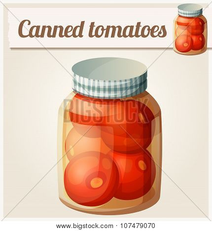 Canned tomatoes. Detailed Vector Icon. Series of food and drink and ingredients for cooking.