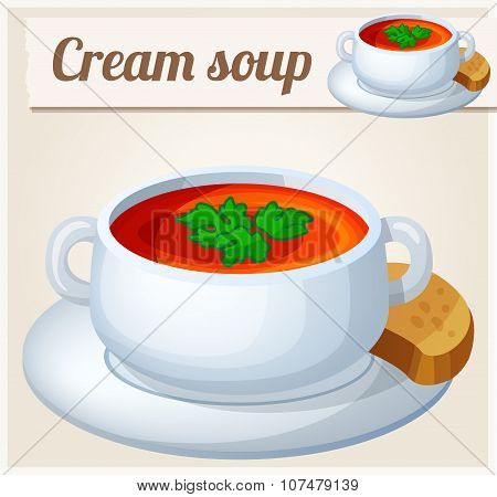 Cream soup. Detailed Vector Icon. Series of food and drink and ingredients for cooking.