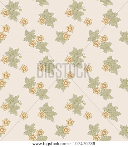 Seamless pattern with flowers. Romantic style.  Retro. Vector