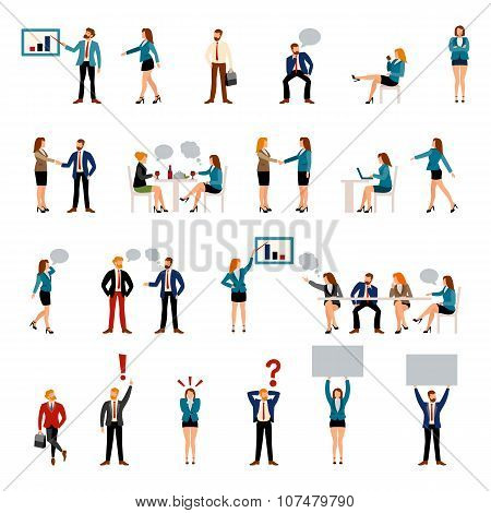 Flat style business people figures icons.