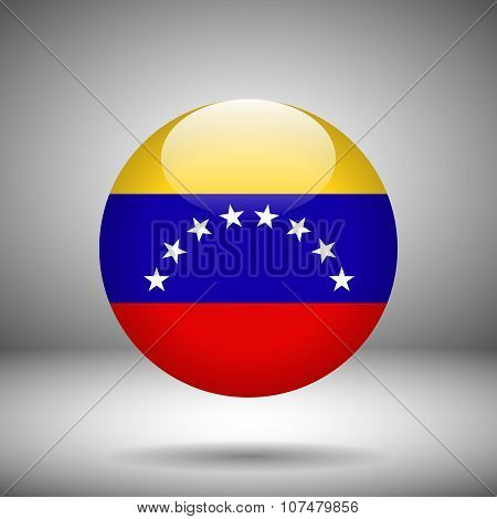Round Flag Of Venezuela On A Gray Background