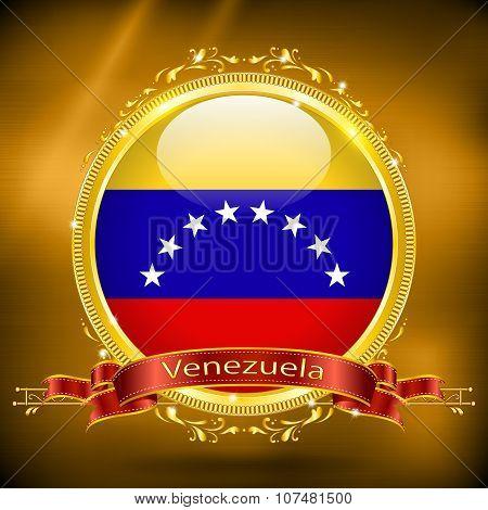 Flag Of Venezuela In Gold