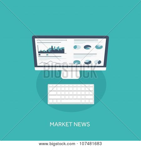 Vector illustration. Flat background. Market trade. Trading platform ,account. Moneymaking,business.
