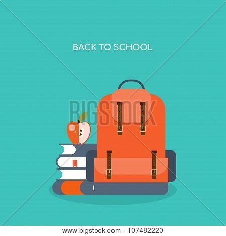Vector illustration. Flat school backpack. Study, bag.
