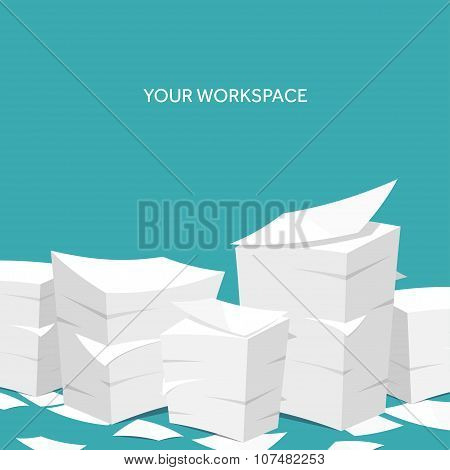Vector illustration. Flat background Paperwork ,office routine, documents. Workspace.