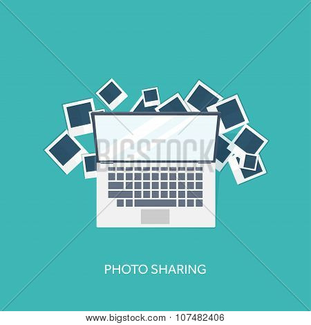Flat background with hand and photos. Travel. Selfie ,images sharing.