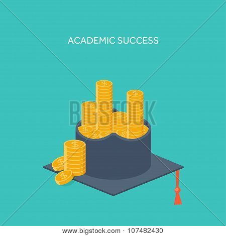 Vector illustration. Flat background with academic cap ,golden coins. Success ,study. Achievement.