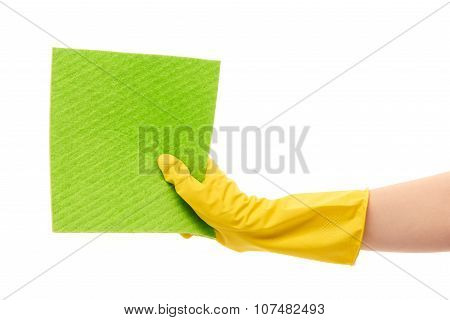 Close up of female hand in yellow protective rubber glove holding green rag