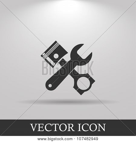 Tools And Piston  Icon. Service Simbol. Repair Singn.
