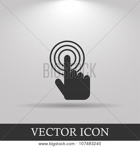 Sign Emblem Vector Illustration. Hand With Touching A Button Or Pointing Finger.