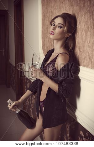 Sexy Girl With Champagne