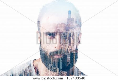 Double exposure concept with bearded man. Isolated