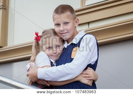 Portrait Of Cheerful And Happy Brother And Sister