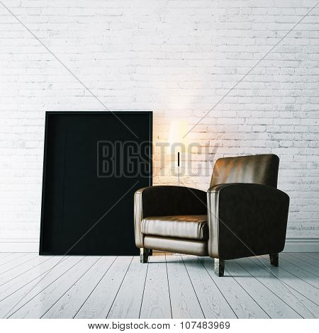 Photo of black frame and vintage armchair on the white floor . 3d rendering