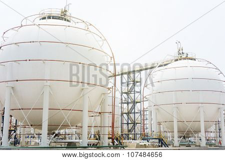 view of oil depot with towers