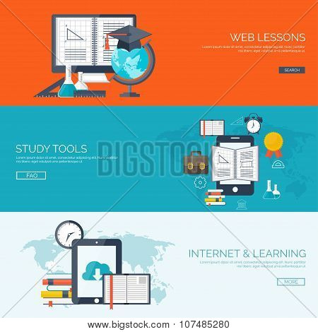 Vector illustration. Flat backgrounds set. Distance education ,learning. Online courses and web scho