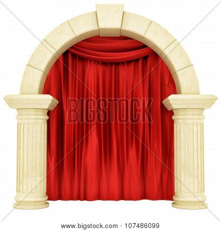 red curtain behind pillars