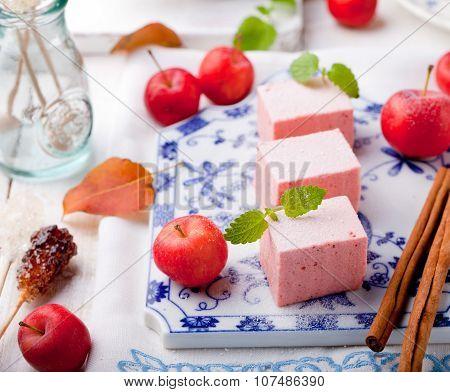 Apple paste, pastille, zephyr, marshmallow with cinnamon