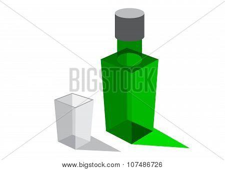 logo bottle and shot glass.