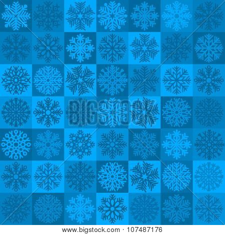 Unusual seamless patchwork pattern from colorful fluffy snowflakes in Moroccan tiles style. Design element for Christmas and New Year. Vector illustration.