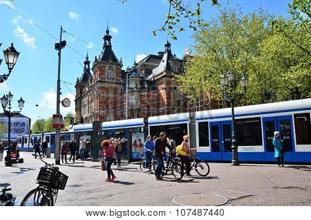 Amsterdam, Netherlands - May 6, 2015: People Around Leidseplein In Amsterdam