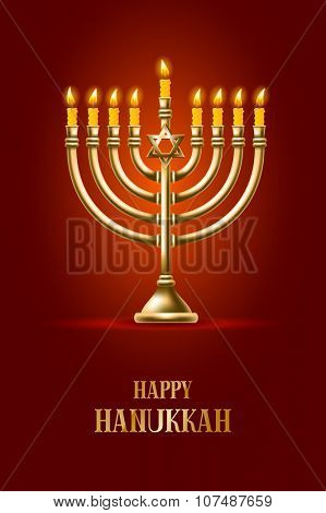 Elegant greeting card for Happy Hanukkah, jewish holiday. Hanukkah golden menorah with burning candles on red background. Vector illustration.