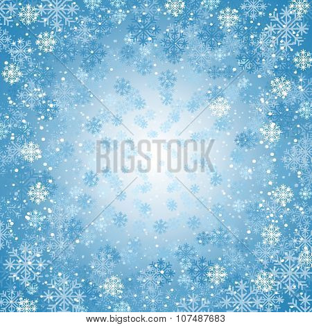 Winter background with blizzard of snowflakes. Design element for Christmas and New Year. Vector illustration.