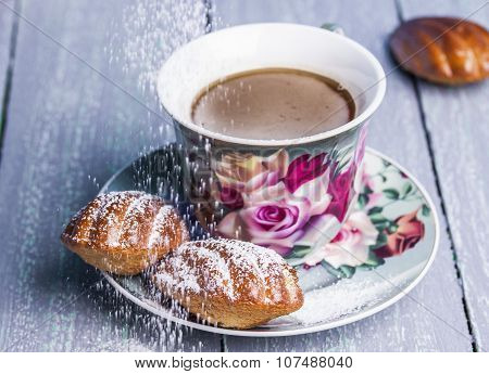 French Madeleines With Cup Of Tea