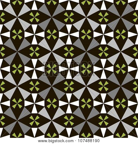Seamless Geometric Pattern Of Abstract Four Petals Flowers