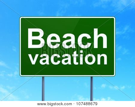 Tourism concept: Beach Vacation on road sign background