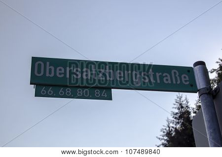 Street Sign Of The Obersalzbergstraße In Germany, 2015