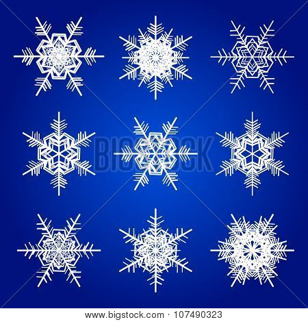 Vector snowflakes white isolated on blue