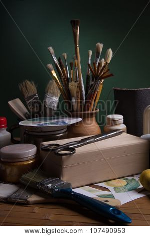Still Life With Tools And Materials For Decoupage