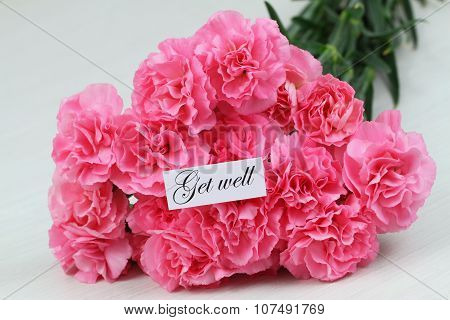 Get well card with pink carnations bouquet
