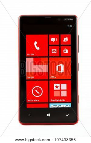 Varna, Bulgaria - February 03, 2013: Cell Phone Model Nokia Lumia 820 Has Amoled Capacitive Touchscr