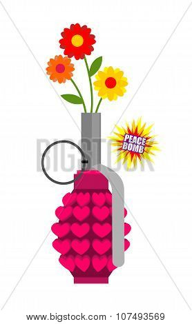 Hand Grenade With Hearts. Army Equipment. Pink Military Ordnance. Army Missile For Love. World Love