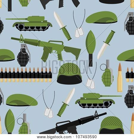 Army Seamless Pattern. Arms Background. Tanks And Hand Grenade. Automatic And Green Beret. Soldiers
