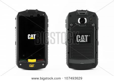 Varna, Bulgaria - March 03, 2013: Cell Phone Model Cat Phone B10 Has Tft Capacitive Touchscreen, 5 M
