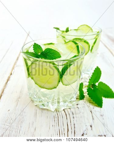 Lemonade with cucumber and mint on board