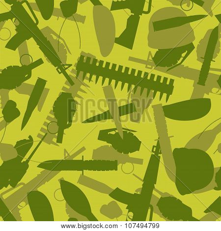 Military Texture. Silhouettes Of Arms And Equipment For War. Grenade And Knife. Tank And Rifle. Sold